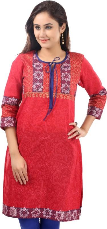 Sohniye Printed Women's Straight Kurta(Red)