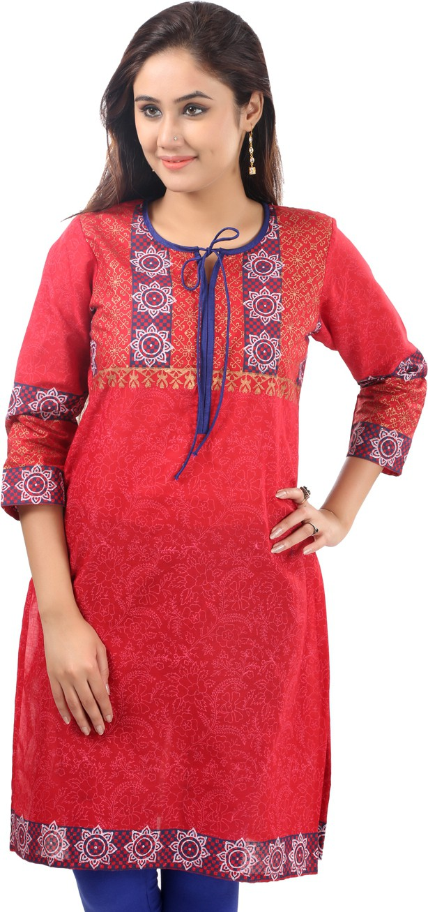 Sohniye Printed Womens Straight Kurta(Red)