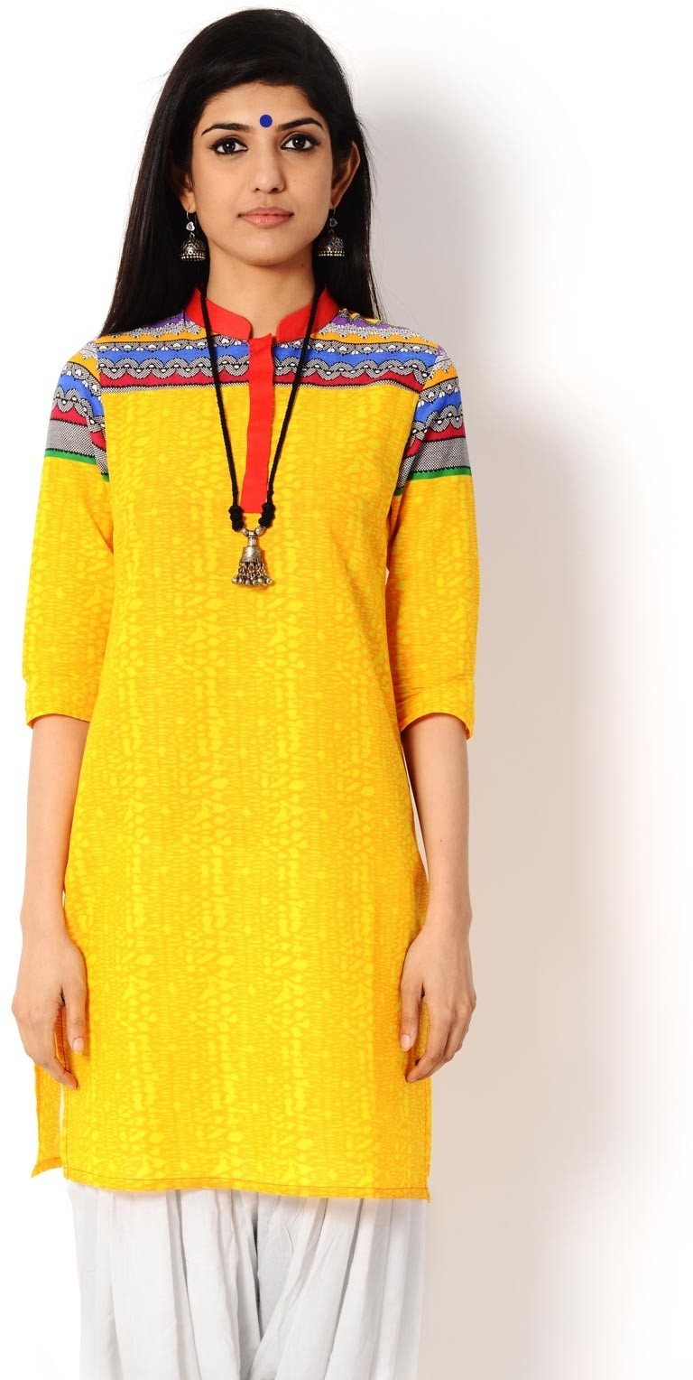 Taaga Printed Womens A-line Kurta(Yellow)