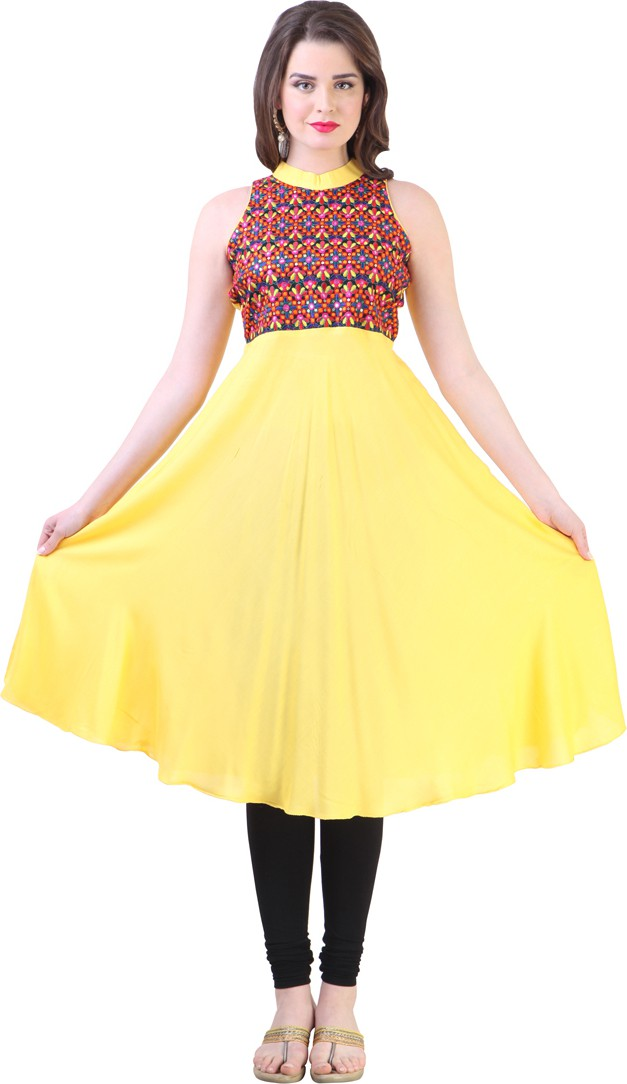 Libas Self Design Womens Anarkali Kurta(Yellow)