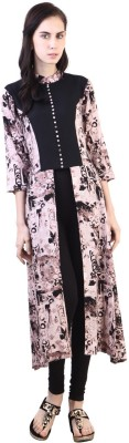 Libas Printed Women's Cape Top Kurta(Black, Brown) at flipkart