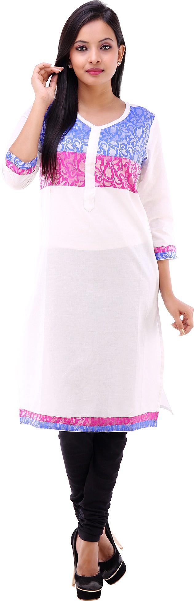 Shubh Printed Womens Straight Kurta(White)