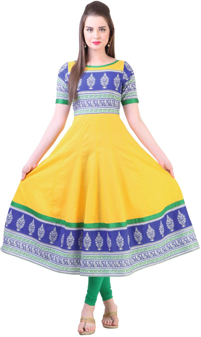 Libas Printed Womens Anarkali Kurta(Multicolor)