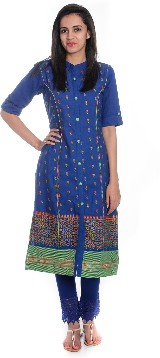 Geroo Embroidered Womens A-line Kurta(Dark Blue)