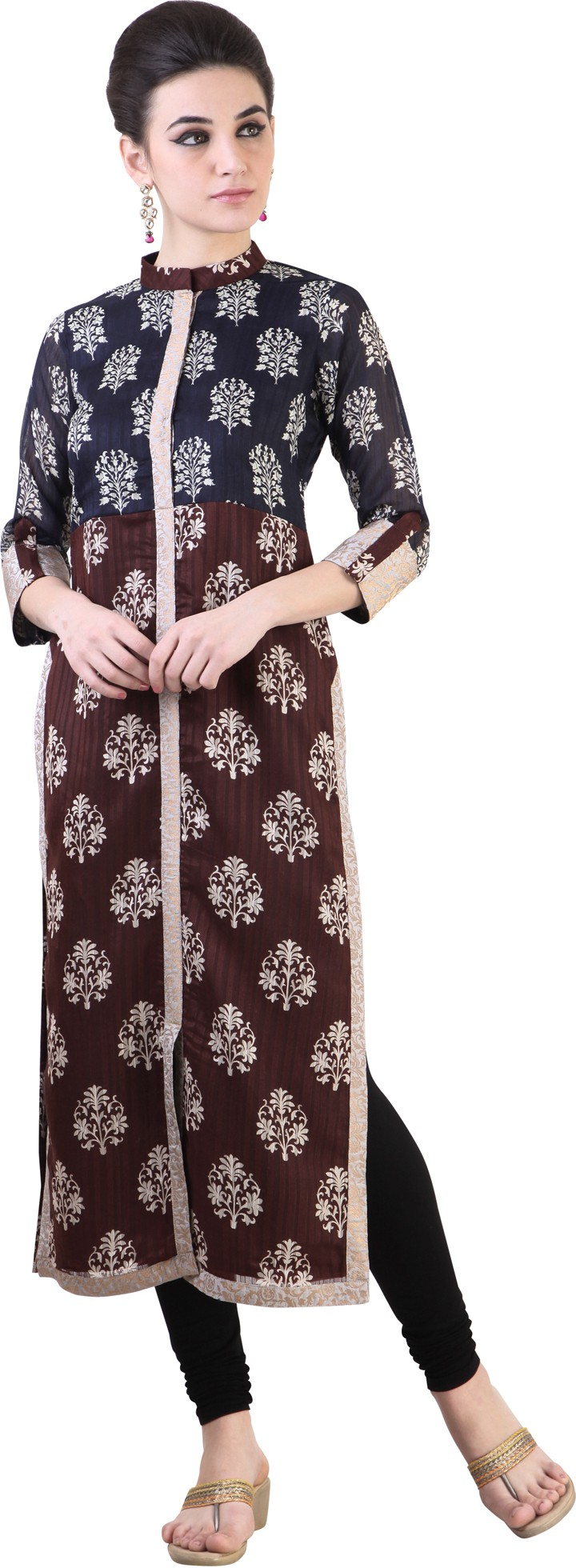 Libas Printed Womens Straight Kurta(Brown)
