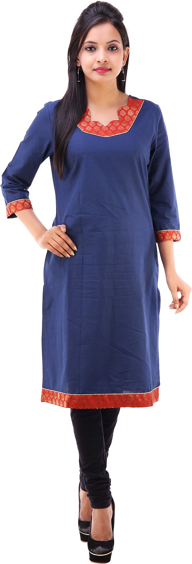 Shubh Solid Womens Straight Kurta(Blue)