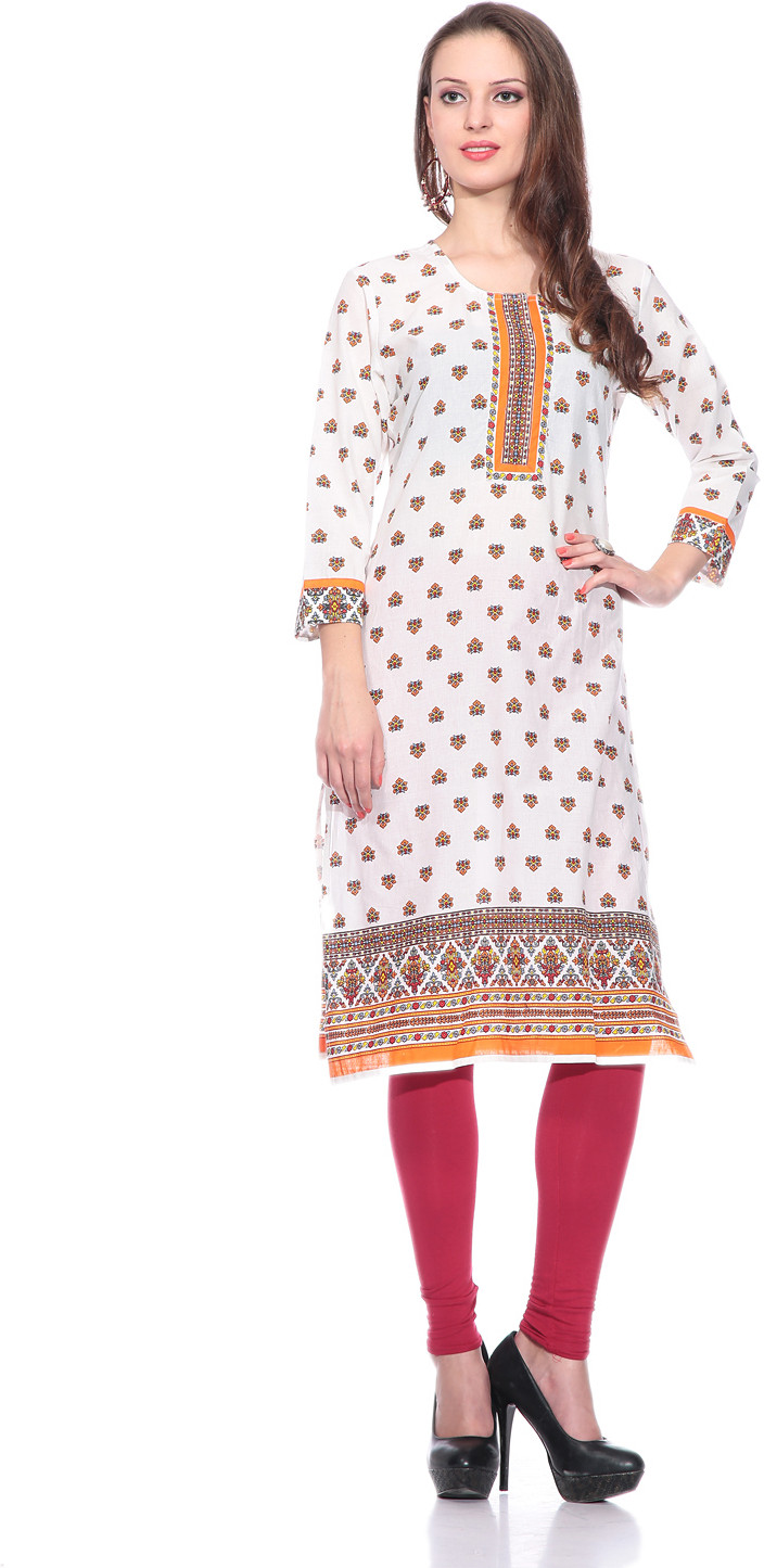 Sringam Printed Womens Straight Kurta(White, Orange)