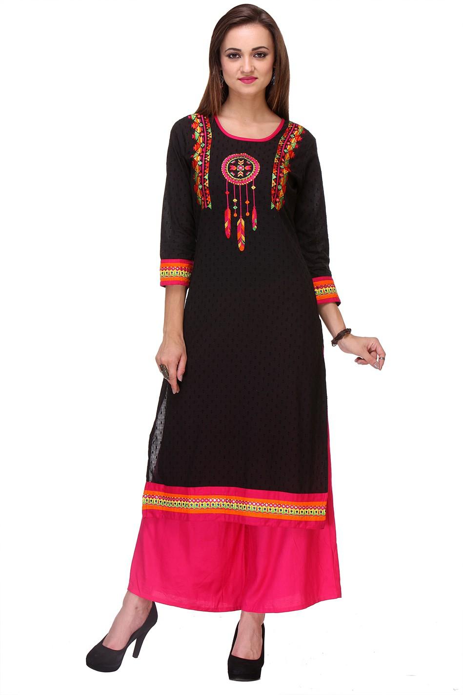 Varanga Embroidered Women's Straight Kurta(Black)