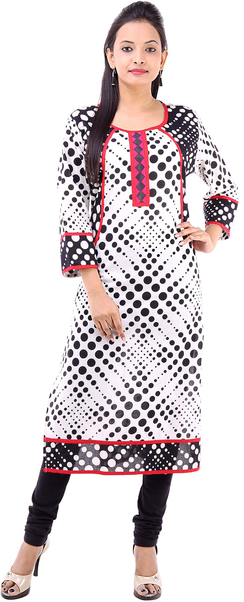 Abhinandan Crafts Printed Womens Straight Kurta(Black)