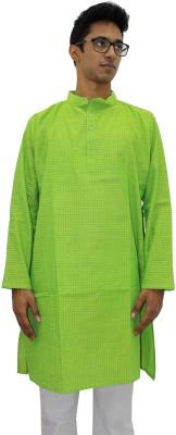 Rasi Silks Solid Mens Straight Kurta(Green)
