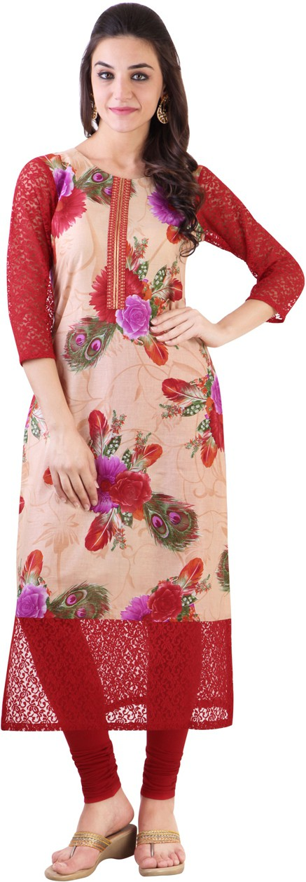 Libas Floral Print Womens Straight Kurta(Beige, Red)