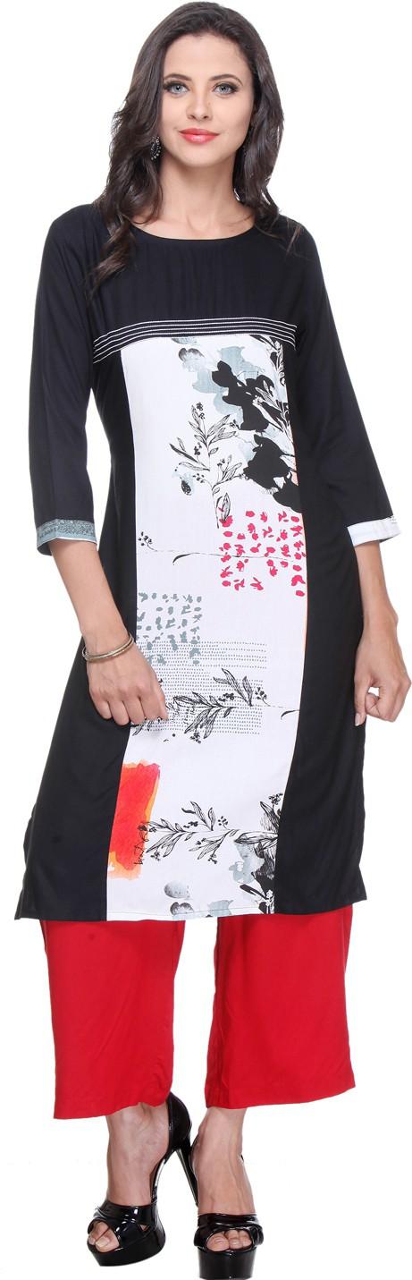 Varanga Printed Women's Straight Kurta(Black)