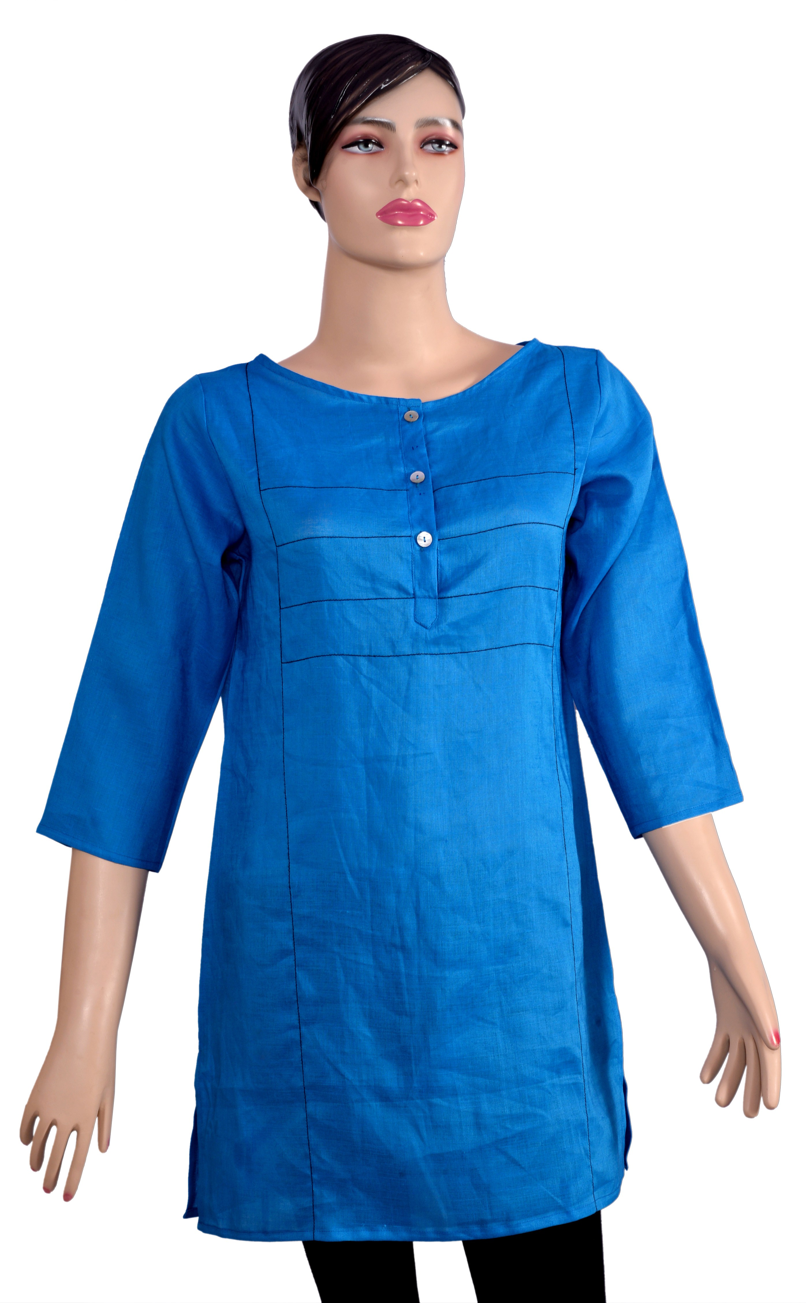 Kumi Solid Womens Straight Kurta(Blue)