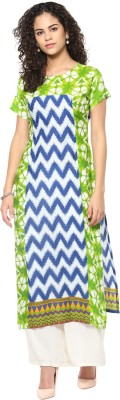 Gerua Printed Women's Straight Kurta(Green) at flipkart