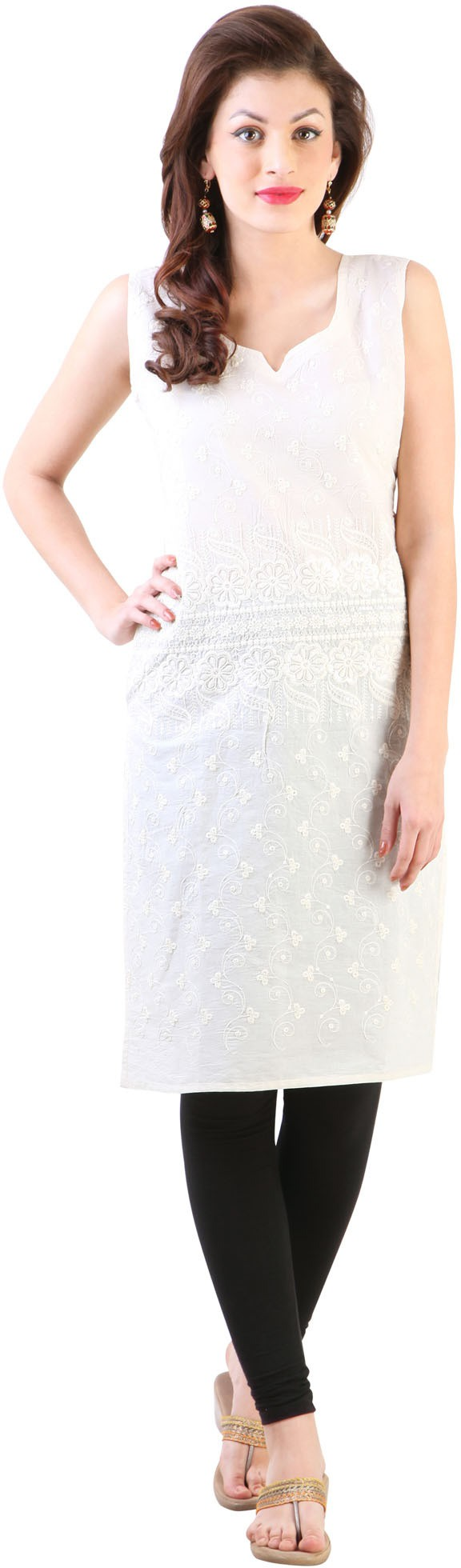 Libas Embroidered Womens Straight Kurta(White)