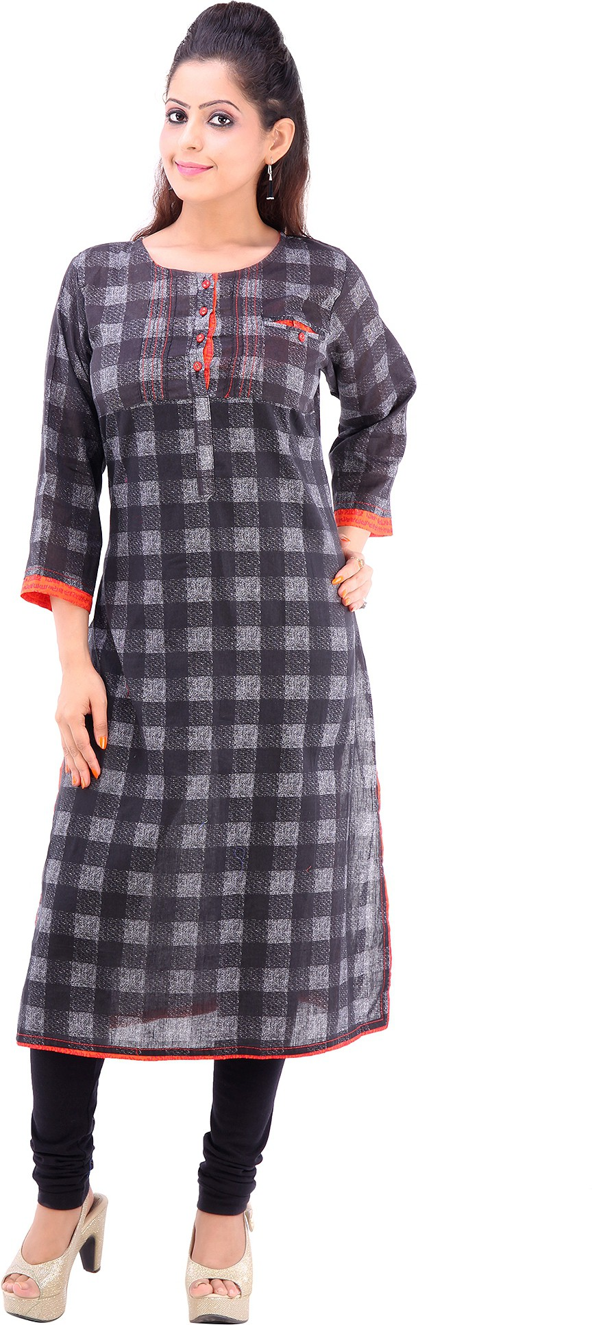 Vastra Design Checkered Womens Straight Kurta(Black)