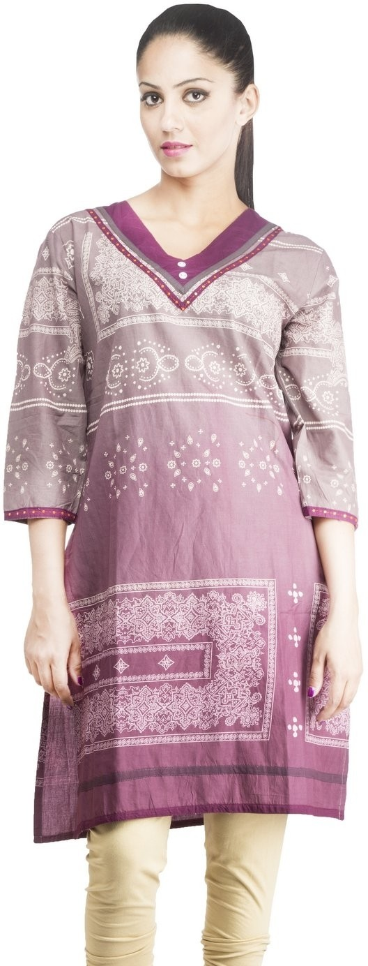Rama Printed Womens Straight Kurta(Purple)