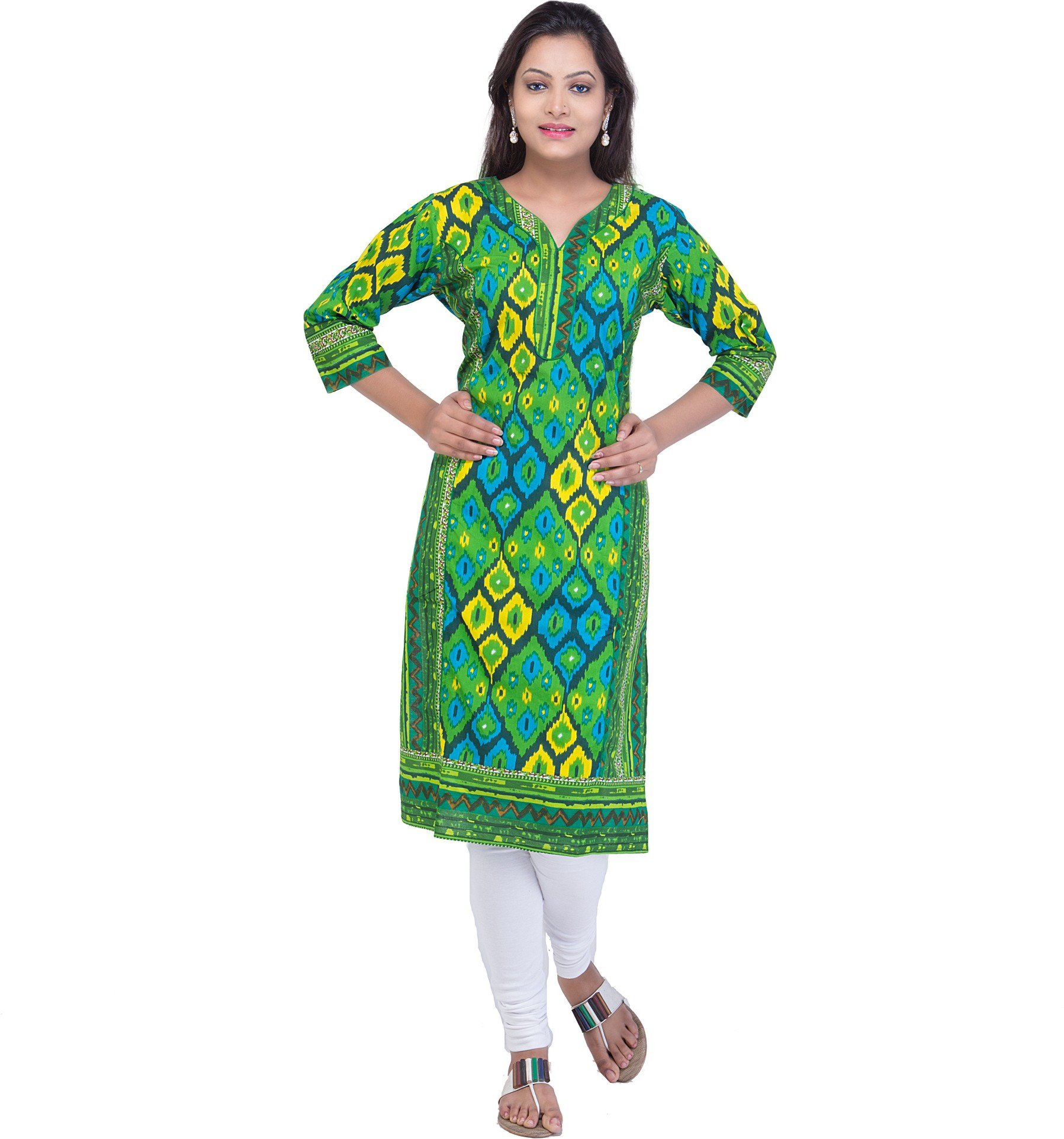 Ridhi Sidhi Graphic Print Womens Straight Kurta(Multicolor)