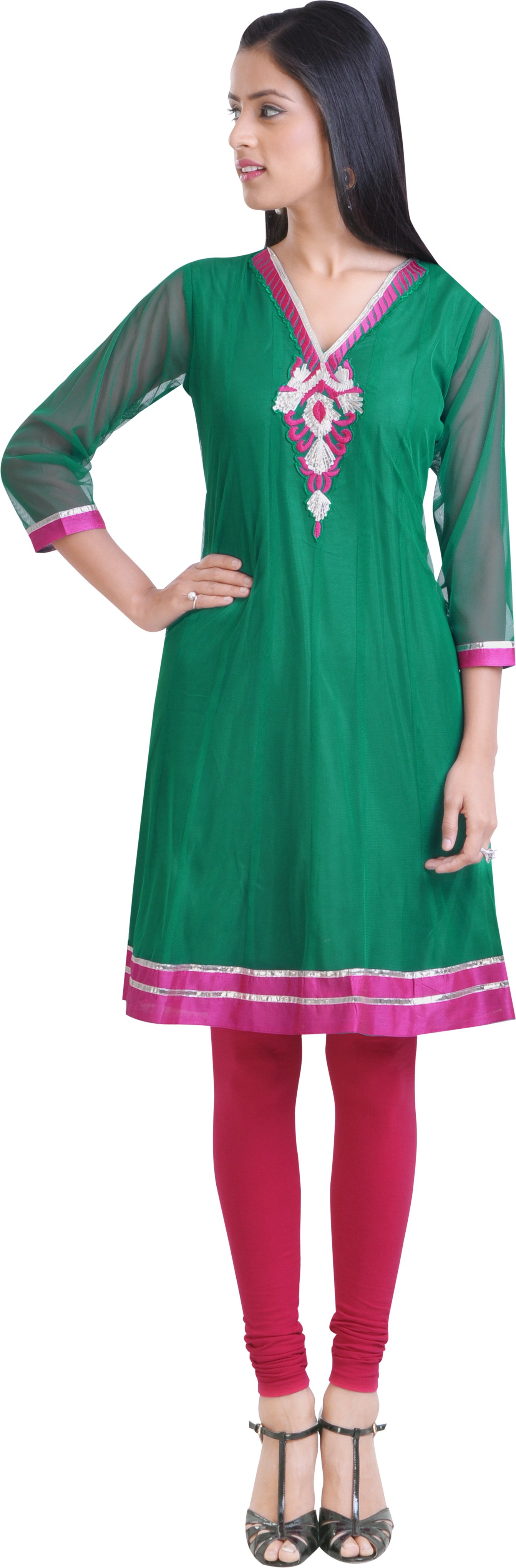 Libas Self Design Womens Anarkali Kurta(Green)