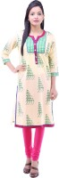 Kyaara Printed Women's Straight Kurta(Green)