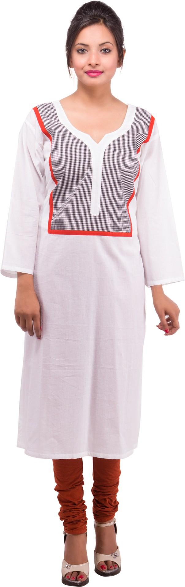 Damyantii Solid Womens Straight Kurta(White)