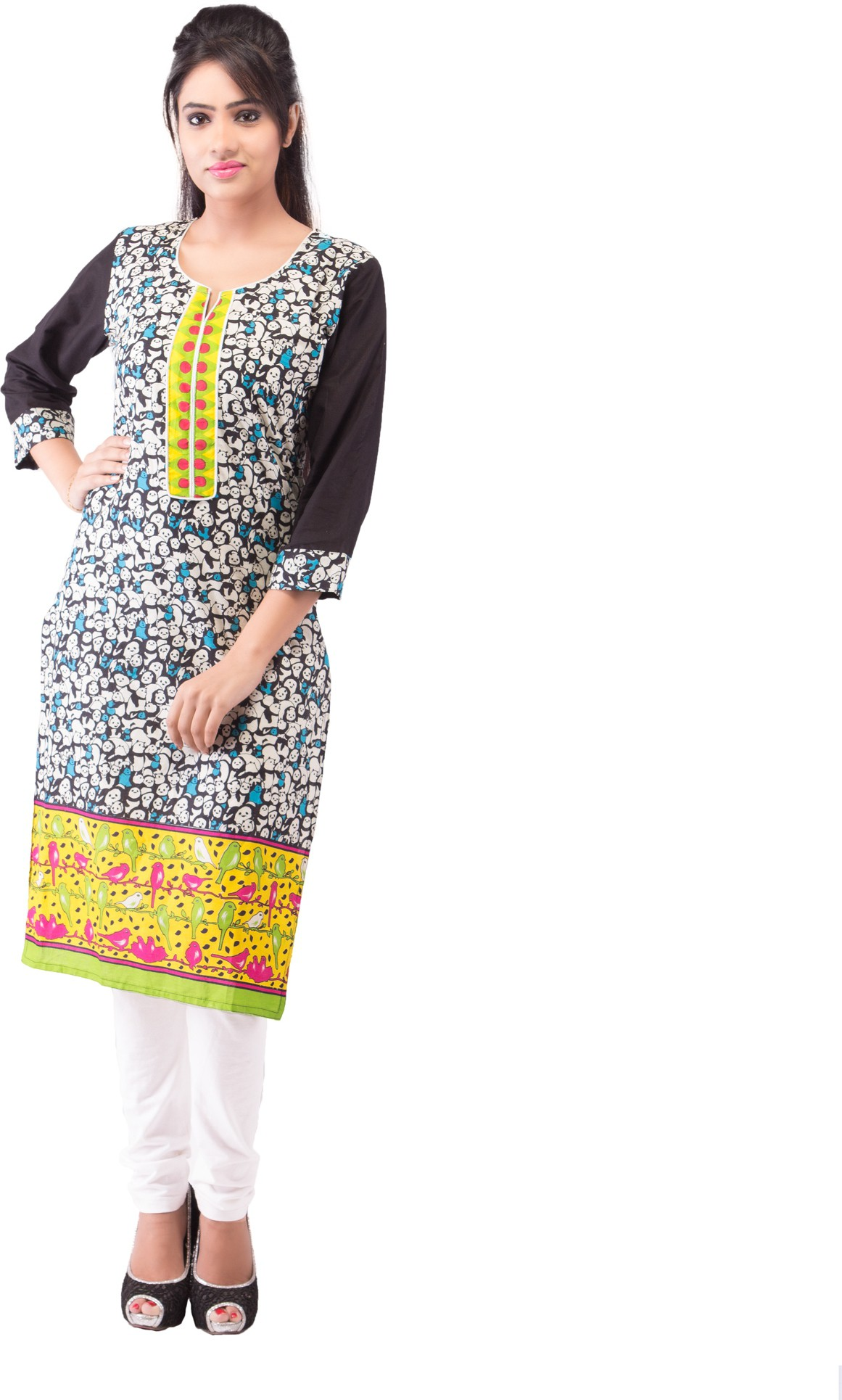 Ridhi Sidhi Printed Womens Straight Kurta(Multicolor)