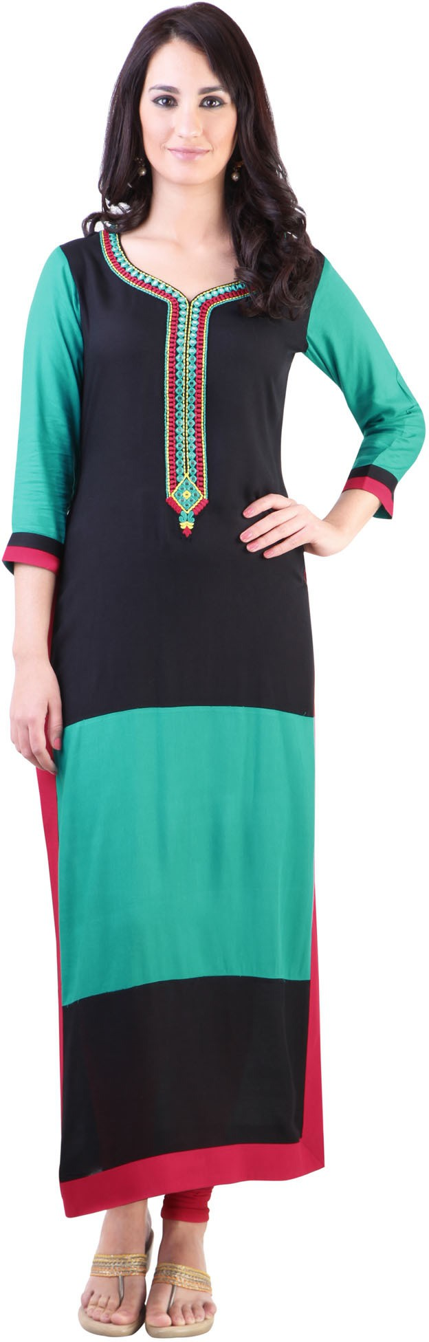 Libas Self Design Womens Straight Kurta(Black, Green)