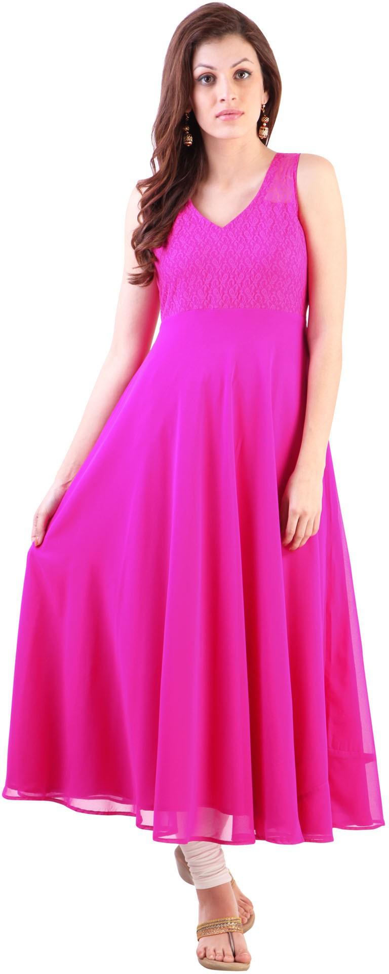 Libas Self Design Womens Anarkali Kurta(Pink)