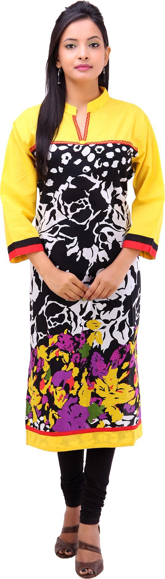 Pari Printed Womens Straight Kurta(Yellow)