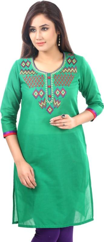 Sohniye Solid Women's Straight Kurta(Green)