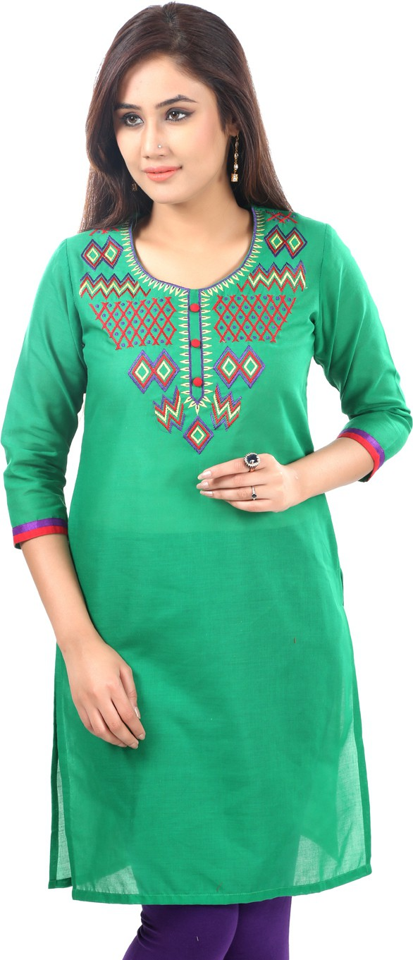 Sohniye Solid Womens Straight Kurta(Green)