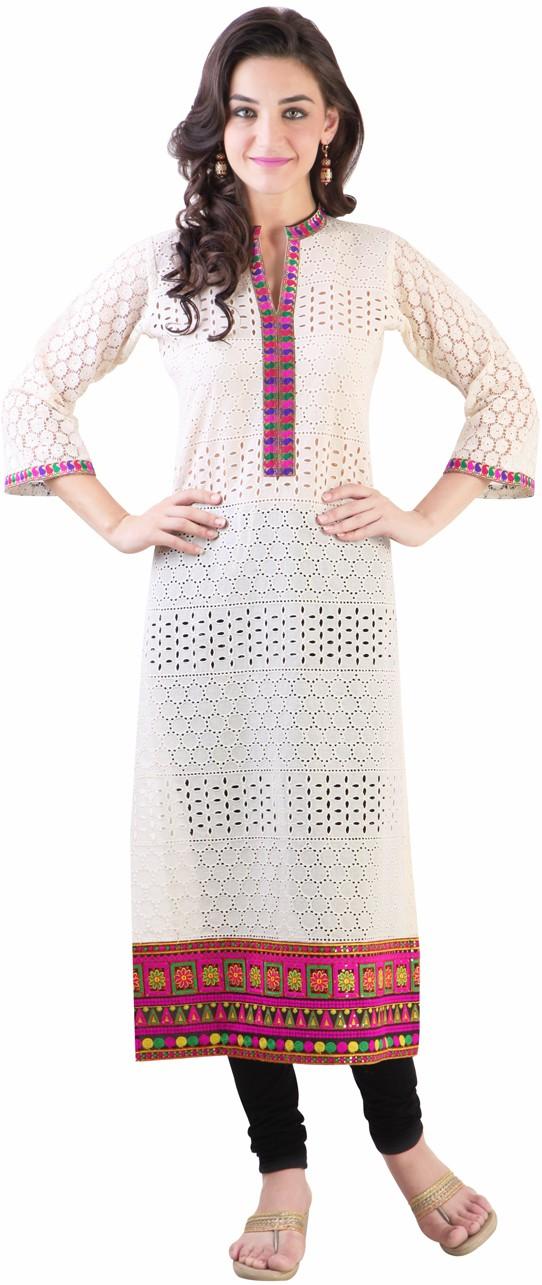 Libas Embroidered Womens Straight Kurta(White)