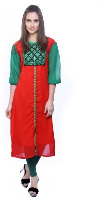 Kurtis By Menika Embroidered Women's Straight Kurta(Red, Green)