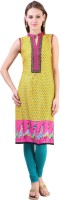 Libas Printed Women's Straight Kurta(Yellow, Blue)