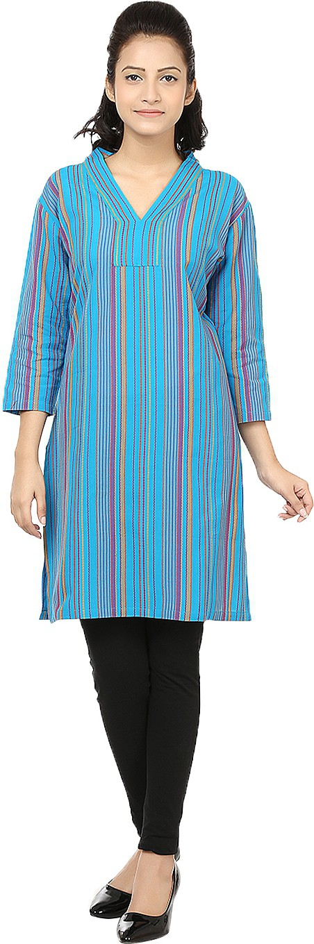 Reevolution Striped Womens A-line Kurta(Light Blue)