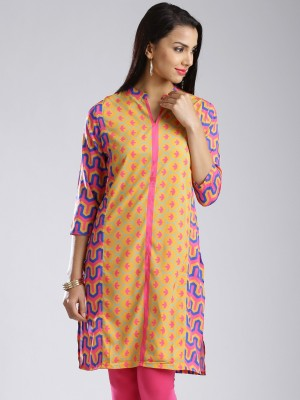 Anouk Printed Women's A-line Kurta(Yellow, Pink) at flipkart