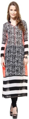 La Firangi Printed Women's Straight Kurta(Black) at flipkart