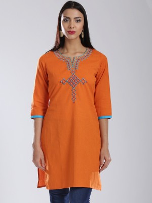 Anouk Embroidered Women's Straight Kurta(Orange) at flipkart