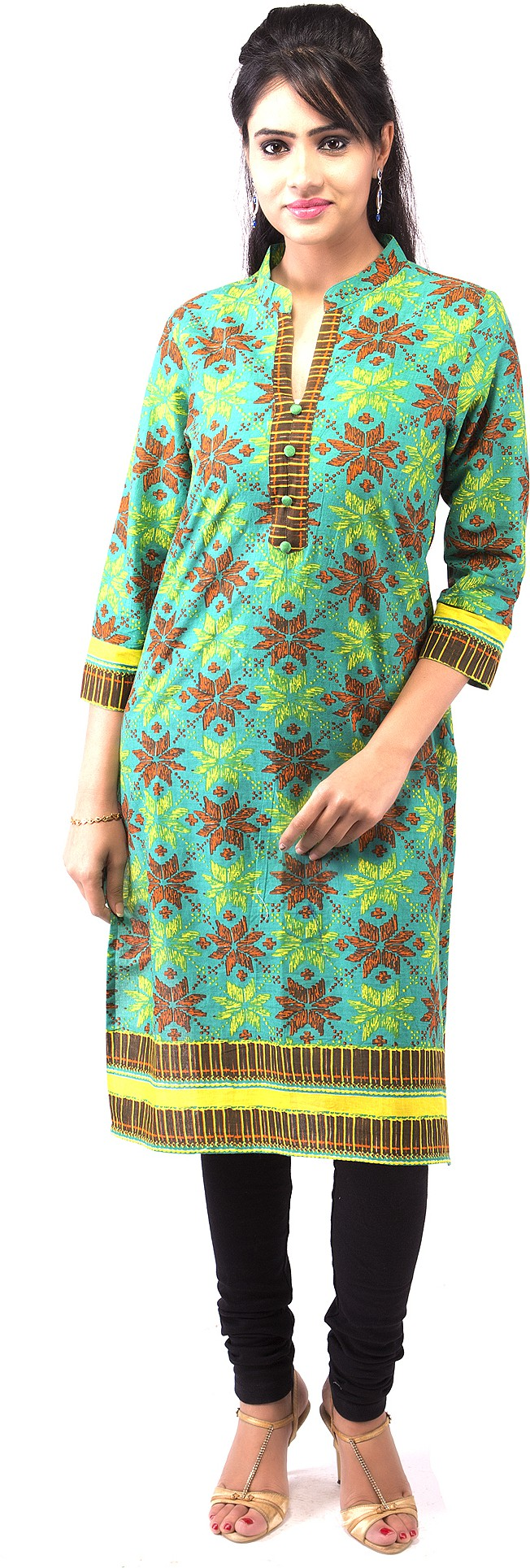 Goodwill Impex Printed Womens Straight Kurta(Green)