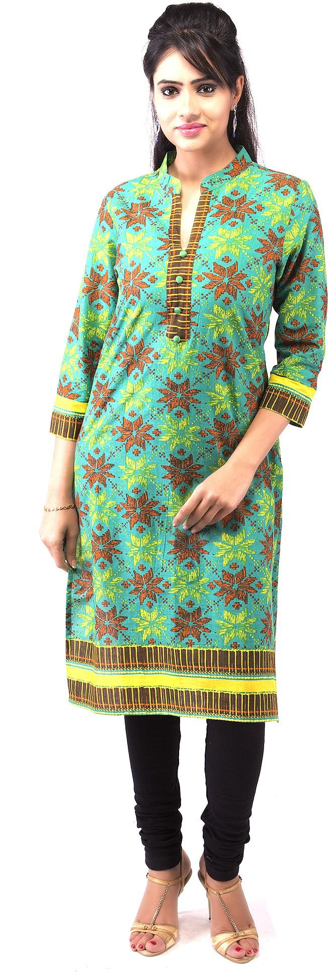 Goodwill Impex Printed Womens Straight Kurta(Green)
