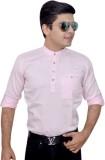 Ivory Solid Men's A-line Kurta (Pink)