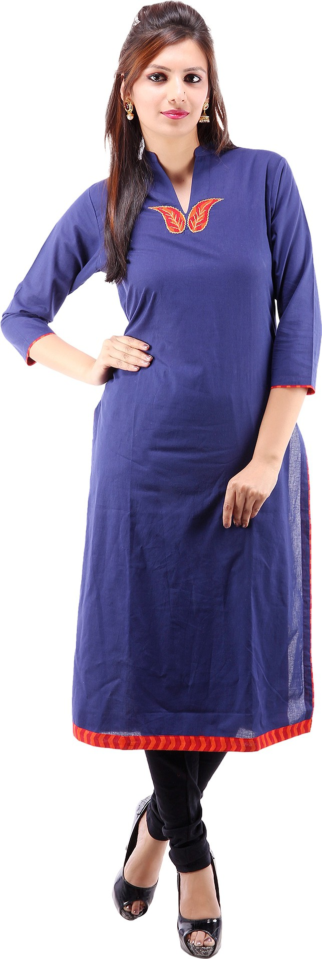 Suruchi Floral Print Womens Straight Kurta(Blue)