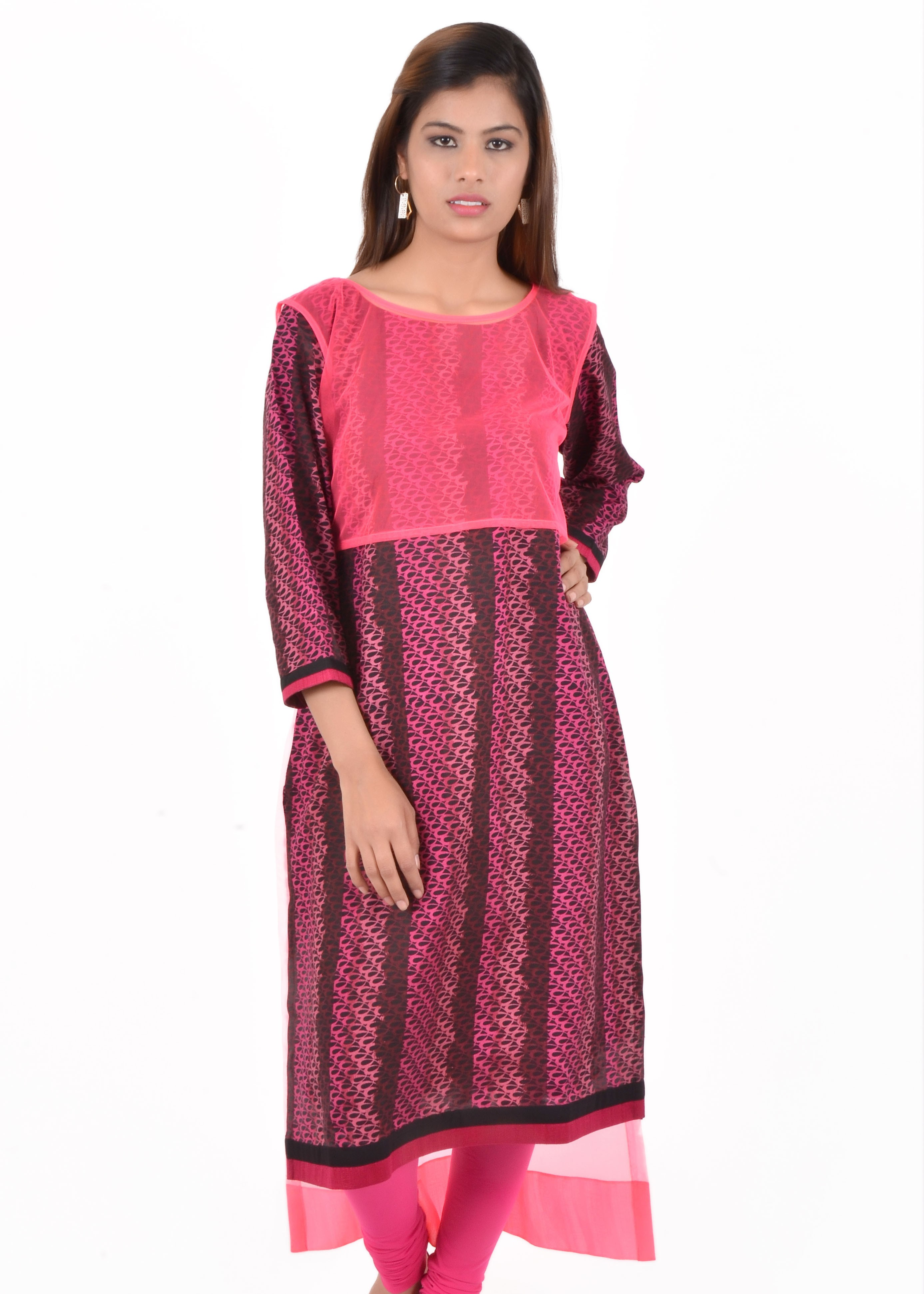 Indibelle Printed Womens Straight Kurta(Pink, Black)