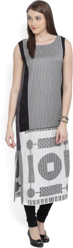 W Printed Women's Straight Kurta(White, Black, Grey)