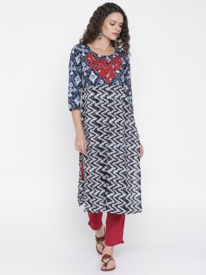 Anouk Printed Women's A-line Kurta(Dark Blue) at flipkart