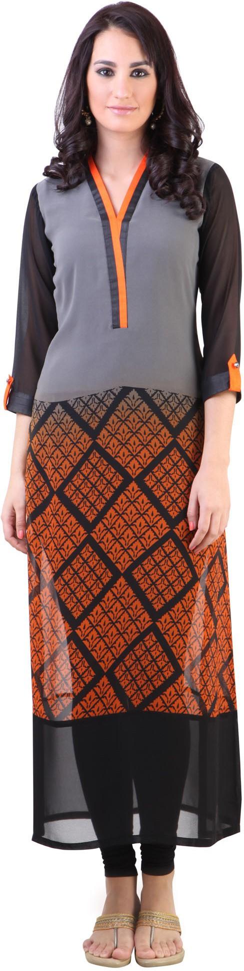 Libas Printed Womens Straight Kurta(Grey)