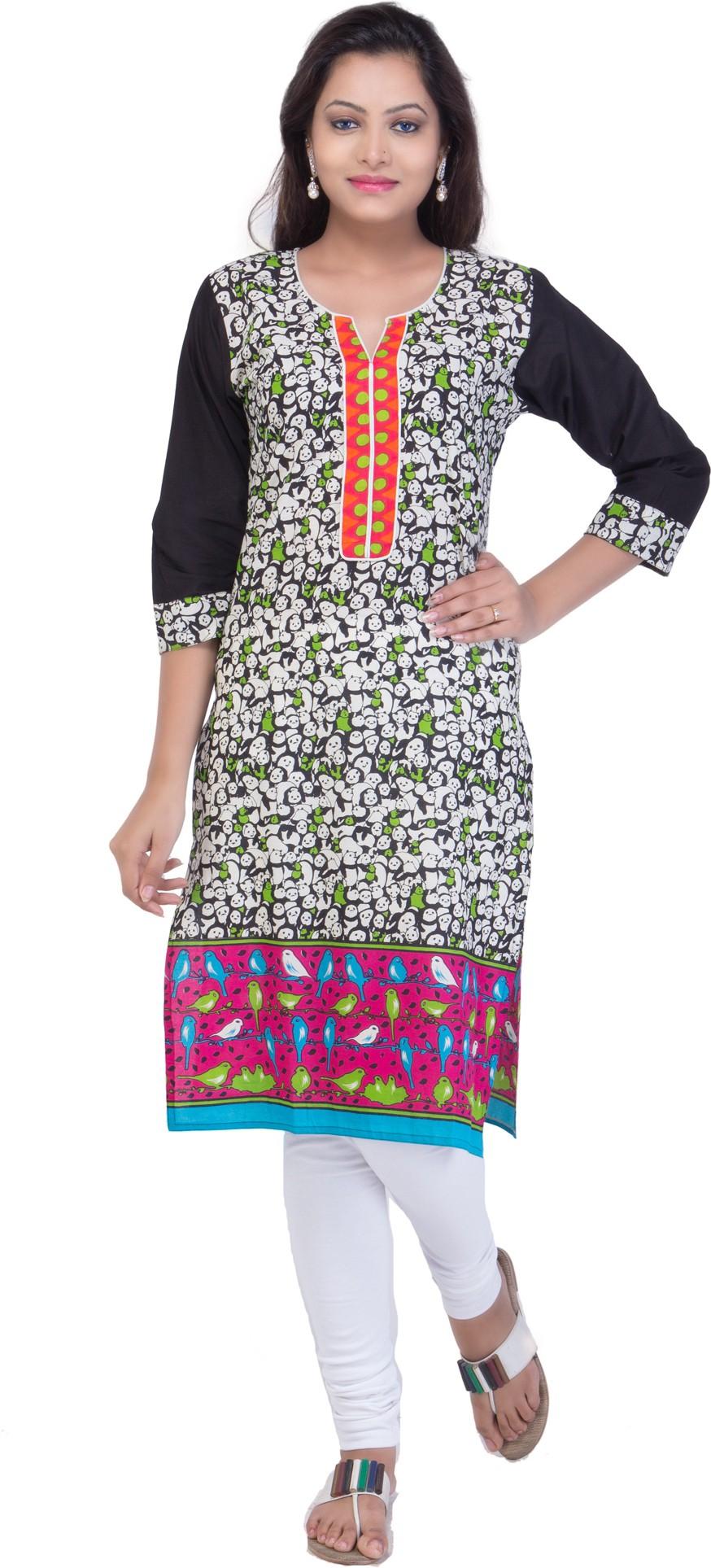 Ridhi Sidhi Floral Print Womens Straight Kurta(Multicolor)