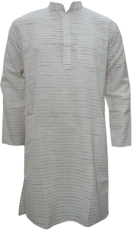 Indiatrendzs Printed Men's Straight Kurta(Beige)