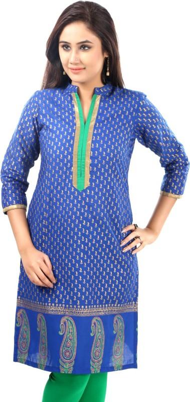 Sohniye Printed Women's Straight Kurta(Blue)