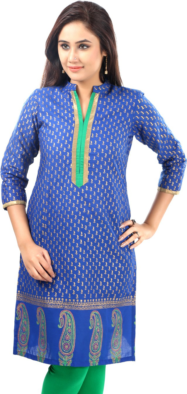 Sohniye Printed Womens Straight Kurta(Blue)